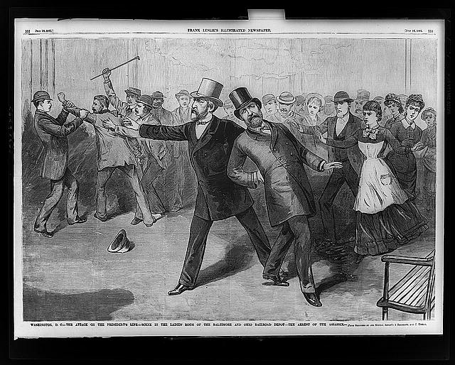 Washington, D.C.--The attack on the President's life--Scene in the ladies' room of the Baltimore and Ohio Railroad depot--The arrest of the assassin