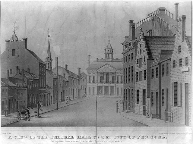 A view of the Federal Hall of the City of New York, as appeared in the year 1797; with the adjacent buildings thereto