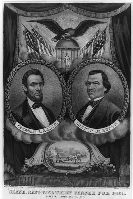Grand national union banner for 1864. Liberty, union and victory