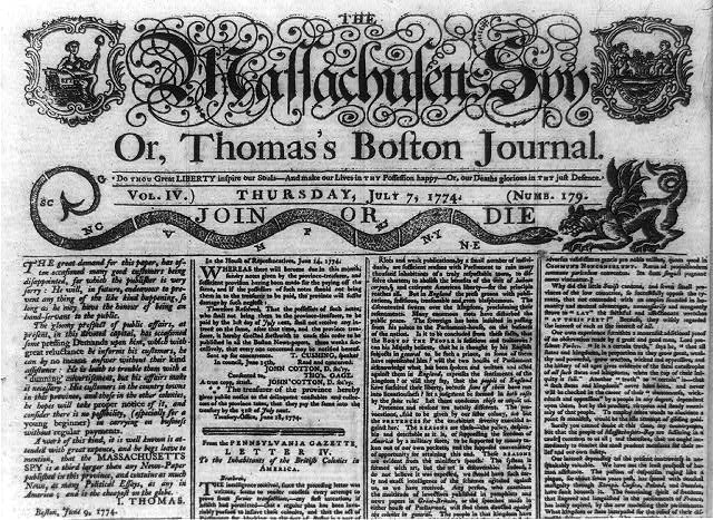 "[Masthead and part of front page of The Massachusetts spy, or, Thomas's Boston journal showing a female figure of Liberty in upper left and rattlesnake labeled ""Join or Die"" symbolizing the 13 colonies, challenging a griffin, across the top]"