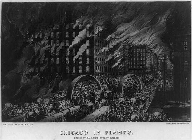 Chicago in flames: Scene at Randolph Street Bridge