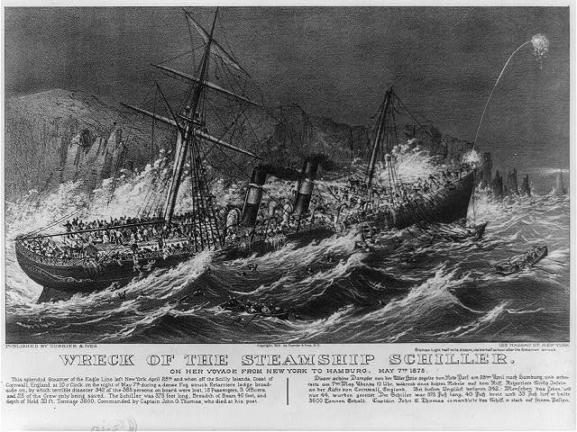 Wreck of the steamship Schiller: on her voyage from New York to Hamburg, May 7th. 1875