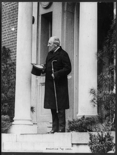 Armistice Day, 1922 - Woodrow Wilson standing in the doorway of his home