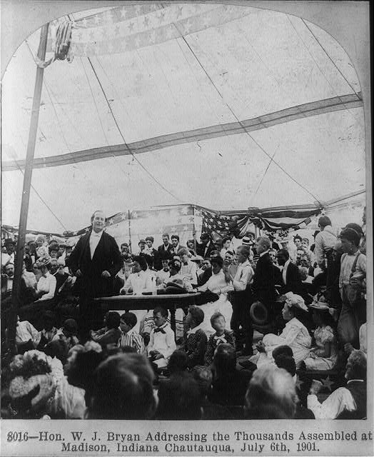 Hon. W.J. Bryan addressing the thousands assembled at Madison, Indiana chautauqua, July 6, 1901