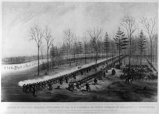 Charge of the first brigade, commanded by Col. M.B. Walker, on the Friday evening of the battle of Stone River ...