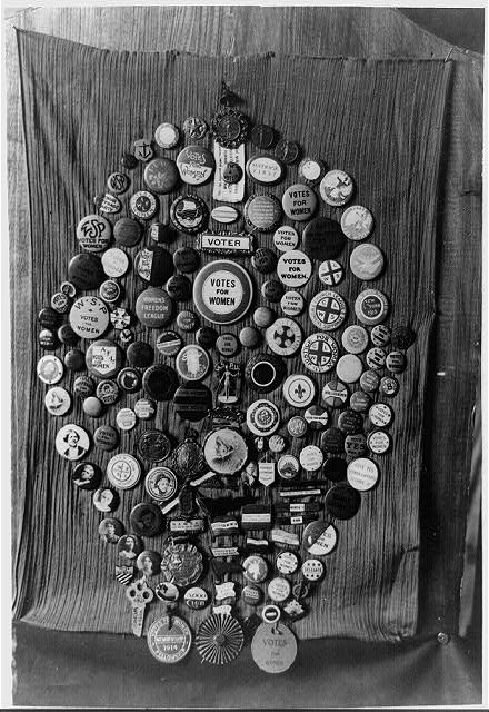 "Collection of ""votes for women"" buttons made by Mrs. Alice Park of Palo Alto, Calif."