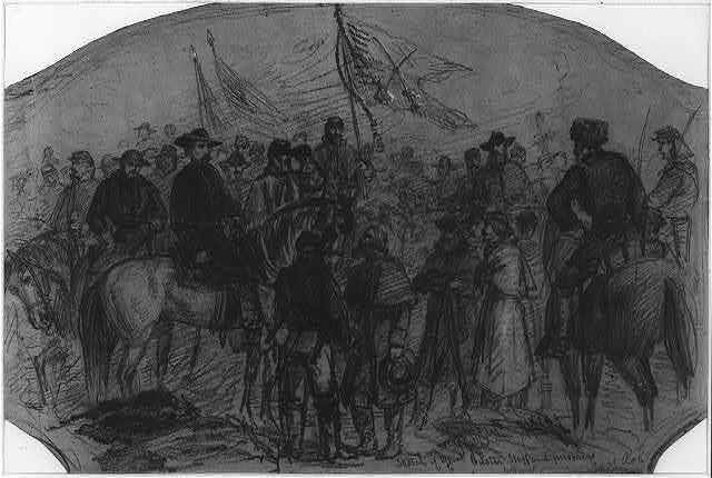 Sketch of Genl. Custer staff and prisoners