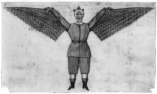 [Humorous portrayal of a man who flies with wings attached to his tunic]
