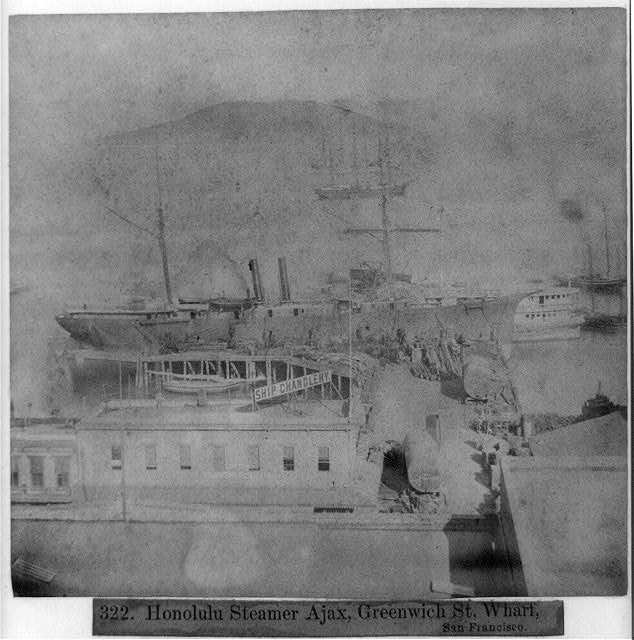 Honolulu steamer, Ajax, Greenwich Street wharf, San Francisco