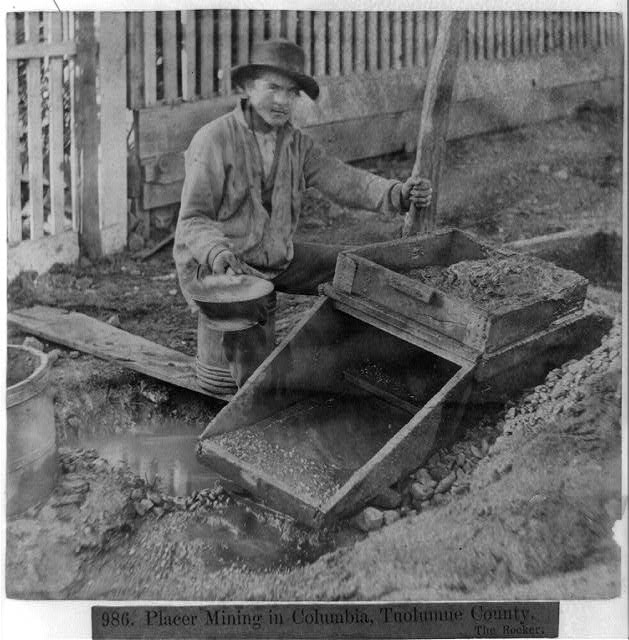 Placer Mining in Columbia, Tuolumne County, The Rocker