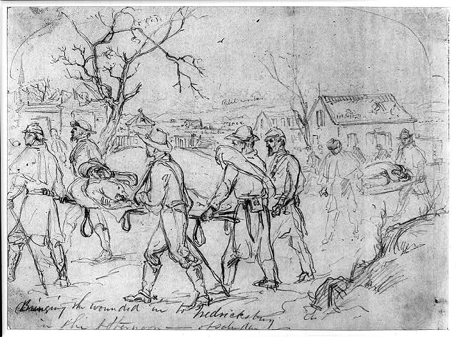 Bringing the wounded into Fredericksburg in the afternoon--of Saturday