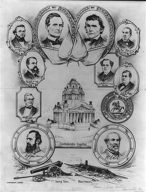 "[""Confederate capitol"" surrounded by portraits of confederate governing officials]"