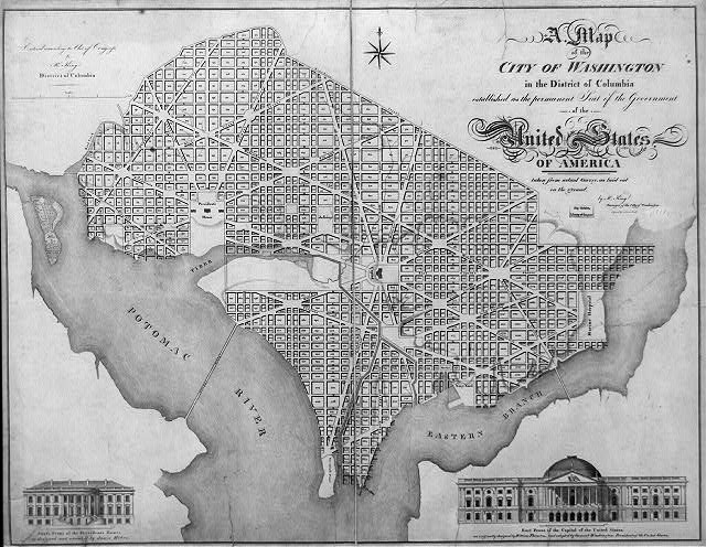 "A map of the city of Washington in the District of Columbia established as the permanent seat of the government of the United States of America. City map with depiction of ""East front of the Capitol of the United States"""