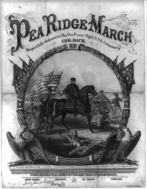 Pea Ridge march.  Respectfully dedicated to Maj. Gen. Franz Sigel, U.S.A.  Composed by Chr. Bach