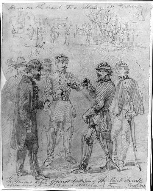 The Union & rebel officers taking the last drink after signing the papers of parole & exchange of prisoners, goodbye