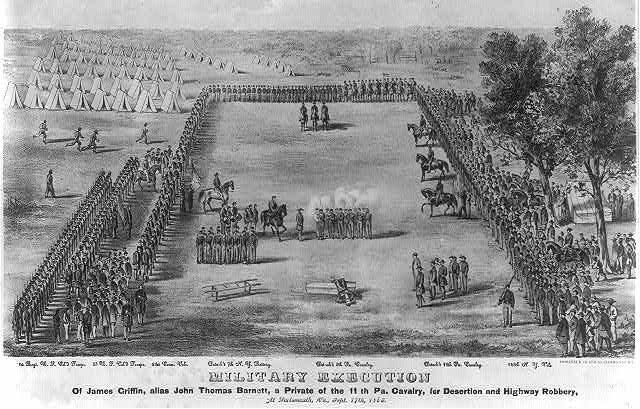 Military execution of James Griffin, alias John Thomas Barnett, a Private of the 11th Pa. Cavalry, for desertion and highway robbery, at Portsmouth, Va., Sept. 17th, 1863