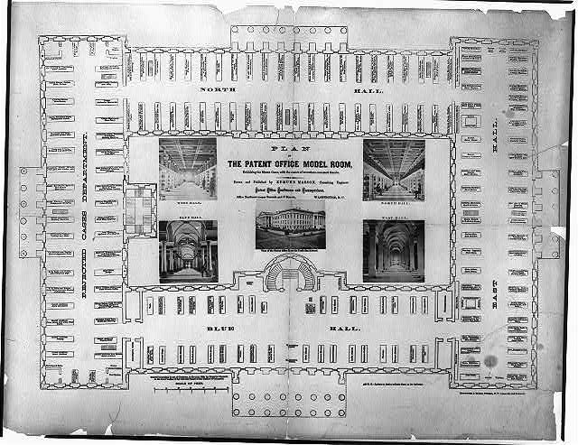 Plan of the Patent Office model room, exhibiting the model cases, with the names of inventions contained therein