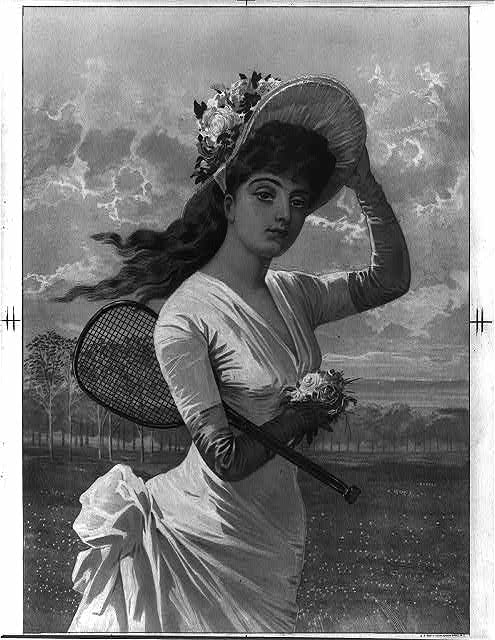 [Woman in white dress holding flowers and tennis racket]