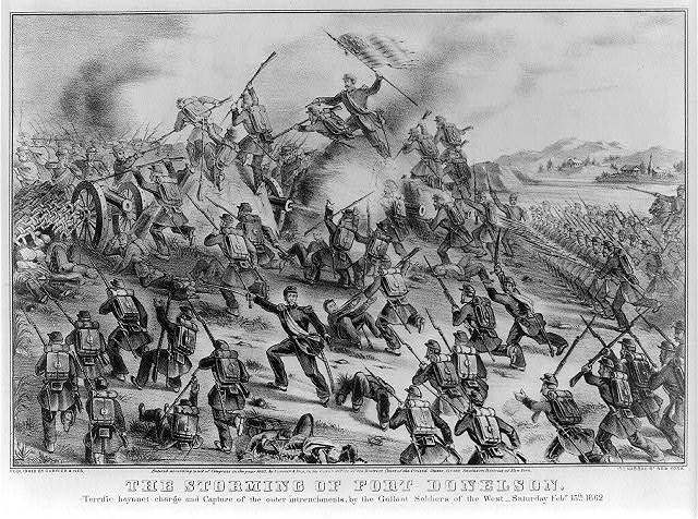 The storming of Fort Donelson: terrific bayonet charge and capture of the outer intrenchments, by the gallant soldiers of the west--saturday Feby. 15th. 1862