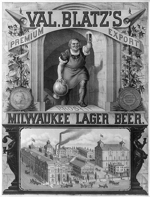 Val. Blatz's premium export, Milwaukee lager beer