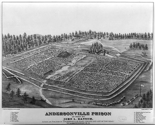 "Andersonville Prison as seen by John L. Ransom, author and publisher of ""Andersonville diary, escape and list of the dead,"" Washington, D.C."