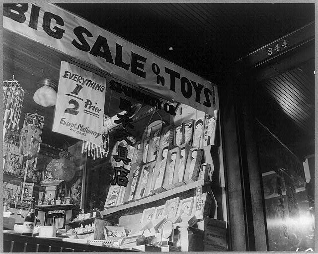 Los Angeles, Calif., April 1942 - toys in store window