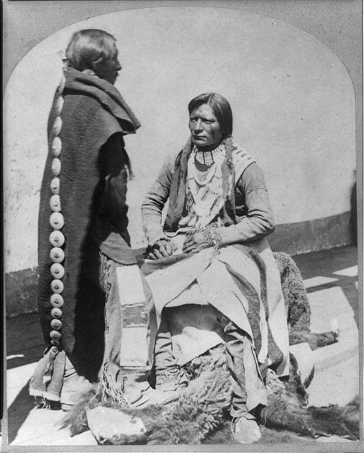 "Ute Braves, of the Kah-poh-teh band, northern New Mexico, in ""full dress."""
