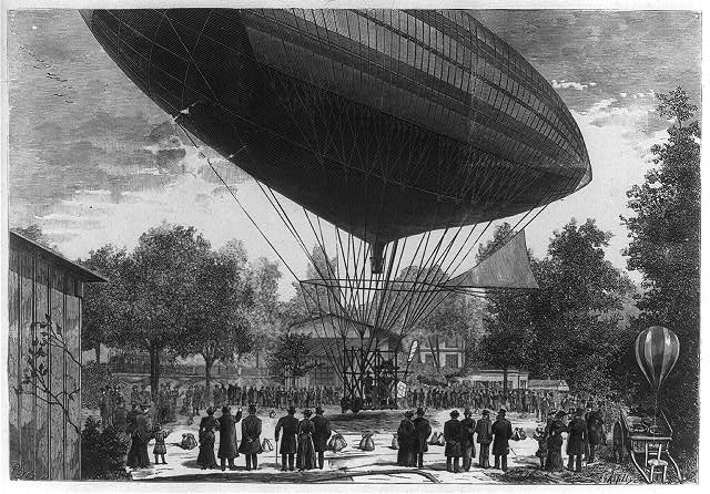 [Airship powered by an electric motor developed by Albert and Gaston Tissandier departing from Auteuil, Paris, France, October 8, 1883]