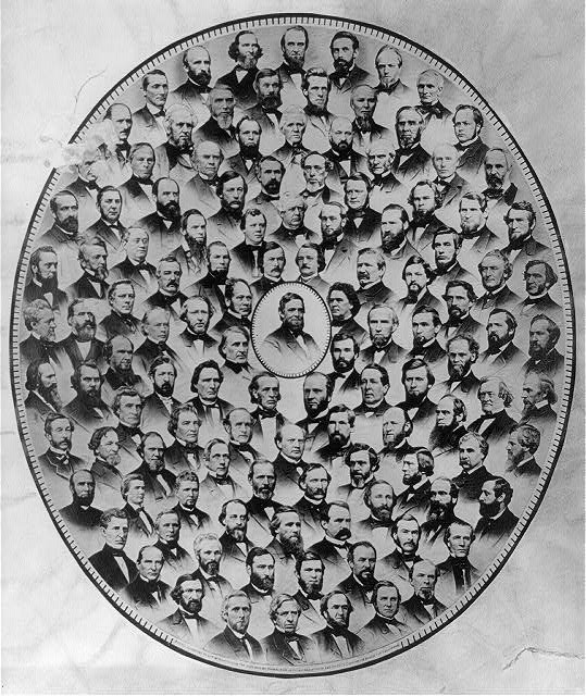 "Photographs of Representatives who voted ""Aye"" on the resolution submitting to the legislatures of the several states a proposition to amend the Constitution of the United States as to prohibit slavery"
