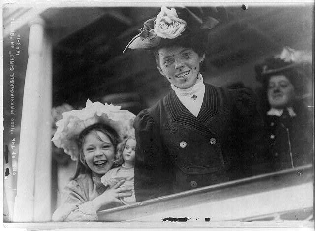 "Ellis Island, N.Y. - one of the ""1000 marriageable girls"" on the ""Baltic"""