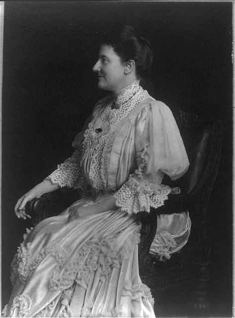 [Mrs. Edith Kermit Carow Roosevelt, three-quarter-length portrait, seated facing left]