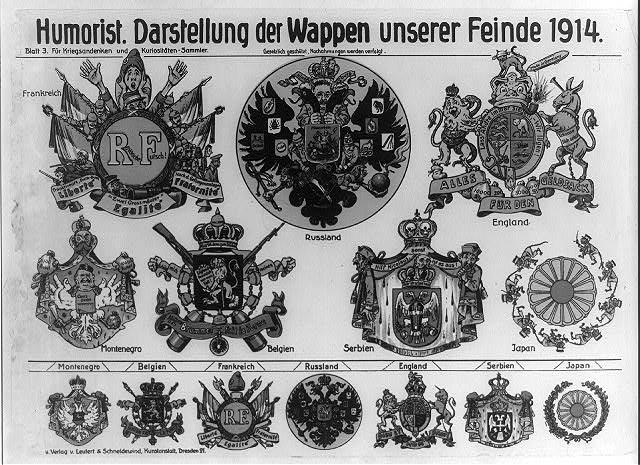 Humorist - Darstellung de Wappen unserer Feinde 1914