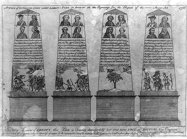 A view of the obelisk erected under Liberty-tree in Boston on the rejoicings for the repeal of the ---- Stamp Act 1766