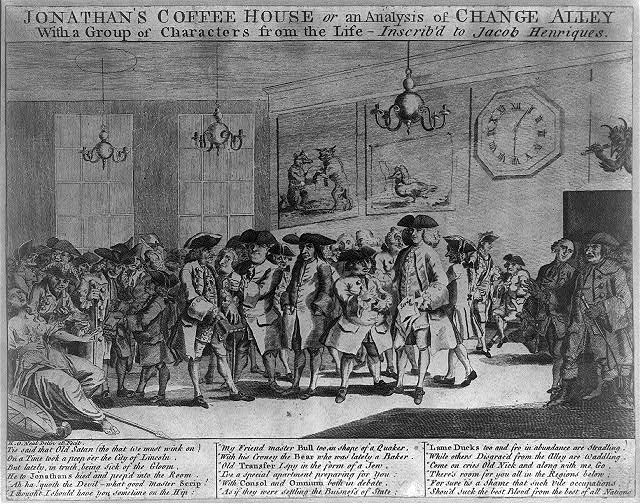 Jonathan's Coffee House or An analysis of change alley with a group of characters from the Life- - -Inscrib'd to Jacob Henriques