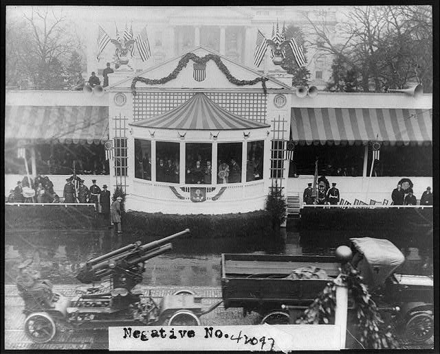 Artillery passing presidential reviewing stand during Inaugural Parade of President Herbert Hoover, 3/4/29