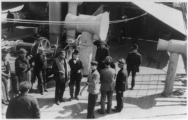 "Immigrants on deck of ""Fried. der Grosse"" in steerage"