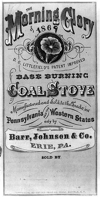 The Morning Glory of 1869 - base burning coal stove