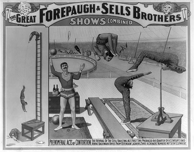 The great Forepaugh & Sells Brothers shows combined. Phenomenal acts of contortion
