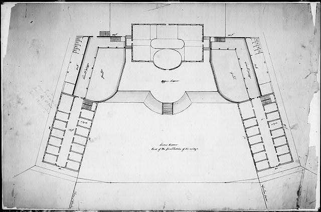 "[Remodeling a house into a hospital (""Joseph Barrell House remodeled as McLean Hospital""), Somerville, Massachusetts. Site plan and plan]"