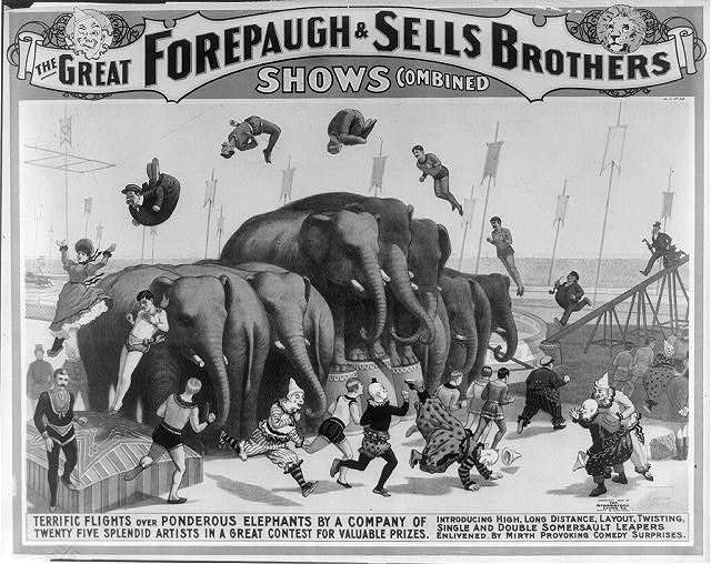 The great Forepaugh & Sells Brothers shows combined--Terrific flights over ponderous elephants by a company of twenty five splendid artists in a great contest for valuable prizes