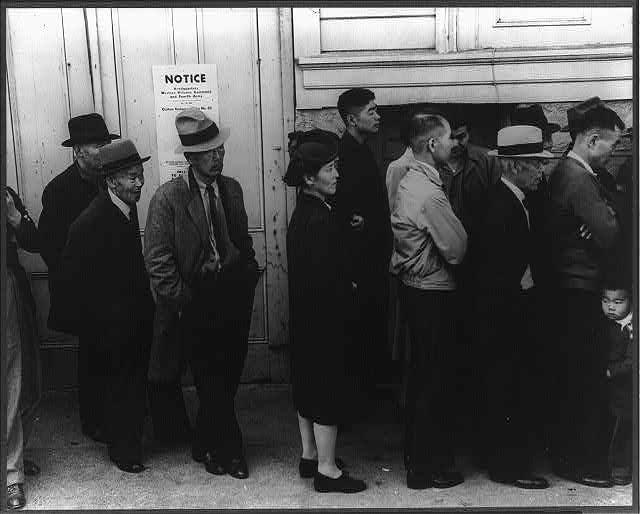Japanese residents at Civil Control station for registration, San Francisco