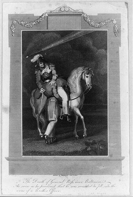 The death of General Ross, near Baltimore, as soon as he perceived that he was wounded he fell into the arms of a brother officer