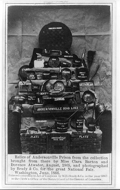 Relics of Andersonville Prison from the collection brought from there by Miss Clara Barton and Dorence Atwater, August, 1865, and photographed by Brady & Co. for the great National Fair, Washington, June, 1866.