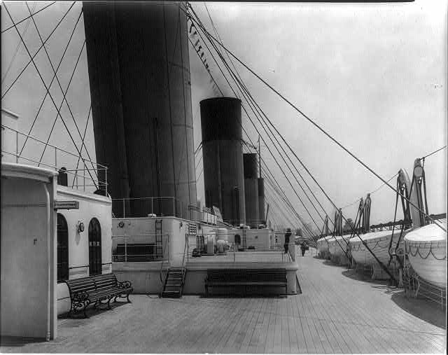 [The S.S. OLYMPIC, 1911: Deck from 2nd class entrance]
