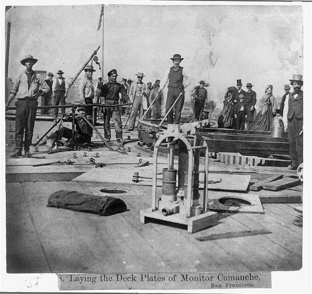 Laying the Deck Plates of Monitor Camanche, San Francisco