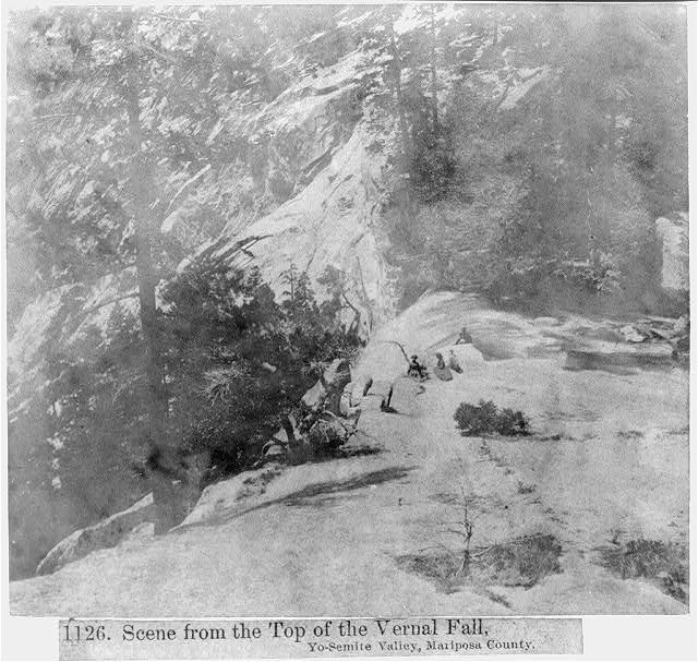 Scene from the top of the Vernal Fall, Yosemite Valley, Mariposa County