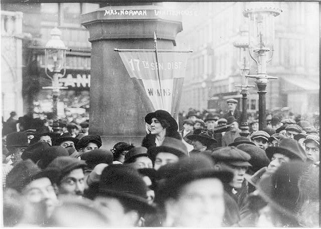 [Mrs. Norman Whitehouse making street speech for suffrage. 1913]