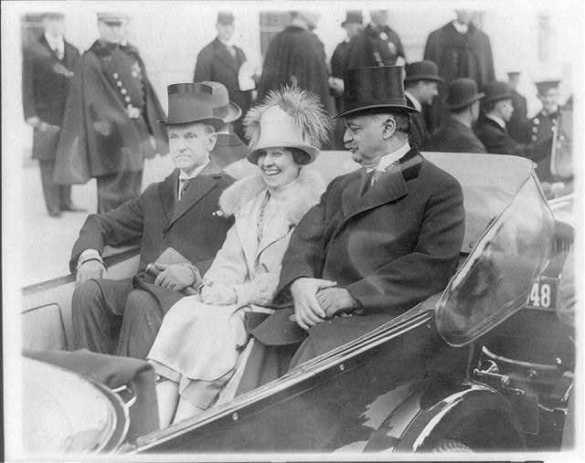 President Coolidge, Mrs. Coolidge and Senator Curtis on the way to the Capitol