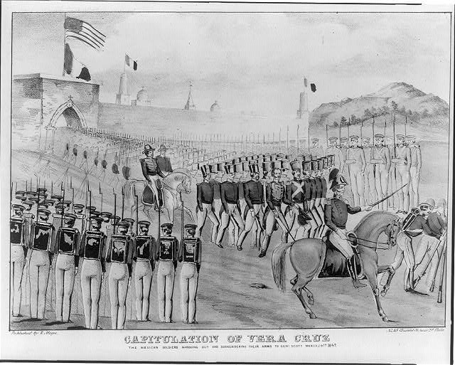 Capitulation of Vera Cruz. The Mexican soldiers marching out and surrendering their arms to Genl Scott March 29th 1847