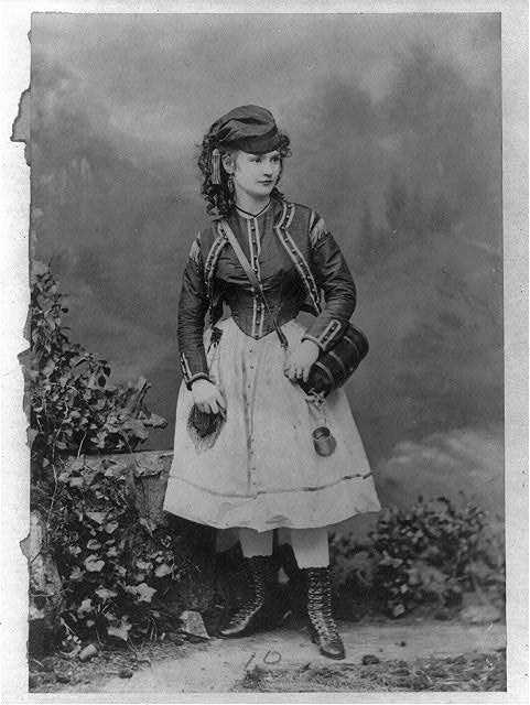 [Lotta Crabtree, full-length portrait in costume for a theatrical role, facing front]